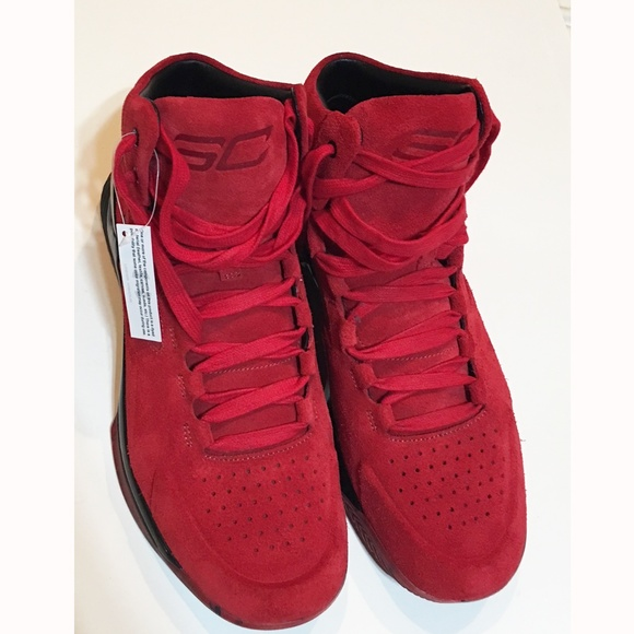 best sneakers 67b1f cc3c2 Under Armour Curry 1 Lux Red Suede NEW